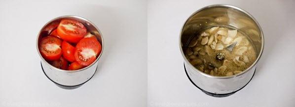 half inch cubes. Now the tomato puree, ground cashew-poppy seeds paste ...